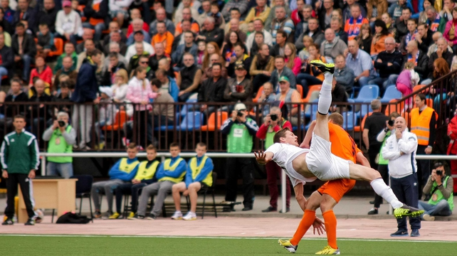 Sligo's Evan McMillan takes a tumble