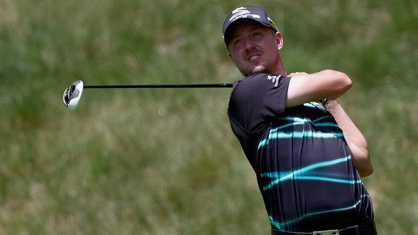 Jonas Blixt tees off on the seventh hole during the first round of the Greenbrier Classic