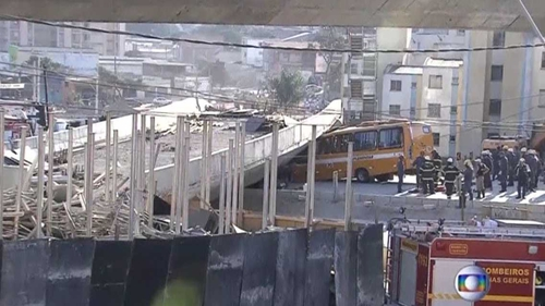 This still from Globo TV shows the scene after the overpass collapsed