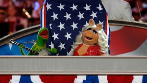 Muppets Kermit the Frog and Miss Piggy perform at rehearsals for a PBS Independence Day TV special at West Lawn in Washington, DC.