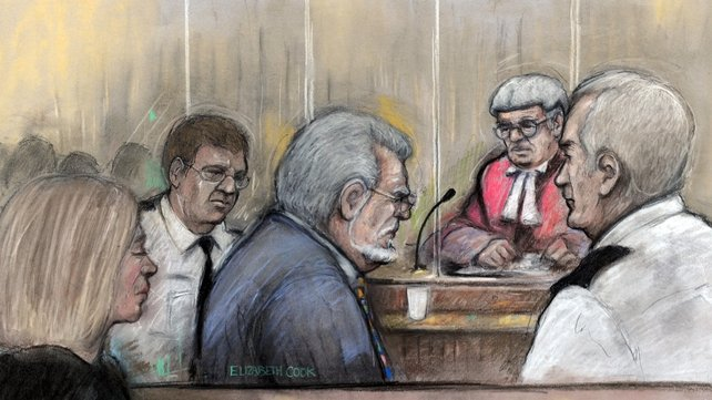 Court drawing by Elizabeth Cook of Rolf Harris in the dock