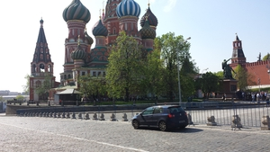 Gavin Culloty parks on Red Square, Moscow on a roadtrip