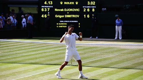 Novak Djokovic celebrates victory on Centre Court