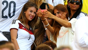 The German WAGS enjoying the game