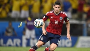James Rodriguez scored the penalty, despite a tight marking job from a Brazilian insect