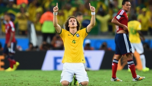Matchwinner David Luiz celebrates at the final whistle