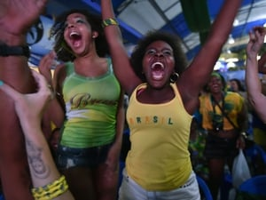 Brazilian fans in Rio celebrate victory