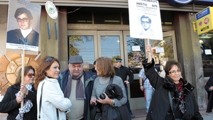 Relatives of the 'Disappeared' including a niece of Enrique Angelelli outside the Superior Tribunal of Justice in La Rioja in 2012