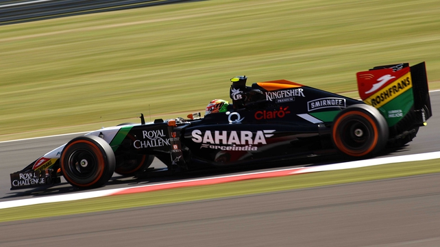 Sergio Perez during practice ahead of the British Grand Prix at Silverstone