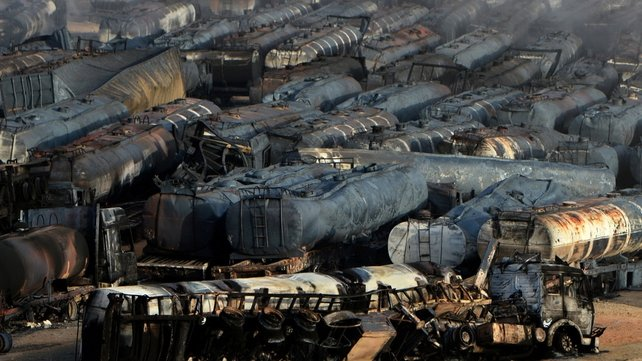 Around 200 tanker trucks were burnt