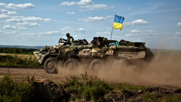 Ukrainian APC patrols on the border of Donetsk and Kharkiv regions