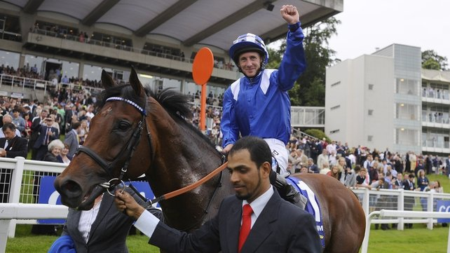 Paul Hanagan riding Mukhadram celebrates winning The Coral Eclipse at Sandown