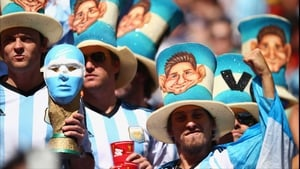 And by half-time, Argentina supporters - sporting Messi hats no less - could celebrate their country's 1-0 lead, which Belgium would no doubt attack following the break