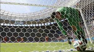 Belgium keeper Thibaut Courtois retrieved the ball from the back of his net