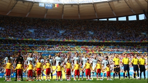 The Argentina team looked on during the singing of their anthem