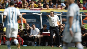 Belgium coach Marc Wilmots looked on during the near chance