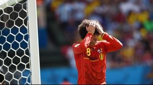 Belgium midfielder Marouane Fellaini had a similar chance, which he also failed to convert
