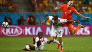 The other Dutch standout, forward Arjen Robben, faced similar difficulty in working through the Costa Rica back line. Here, defender Cristian Gamboa kept Robben away from the ball