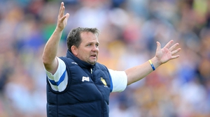 Davy appeals: The Clare manager was energised as ever throughout the game