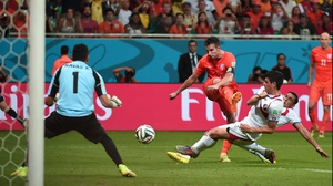 Robin van Persie, who has scored three goals in Brazil, is a serious doubt for the last-four clash
