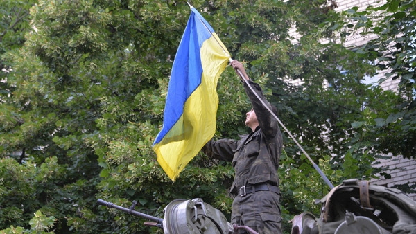 The Ukrainian flag is flying in Slaviansk after pro-Russian rebels fled the city