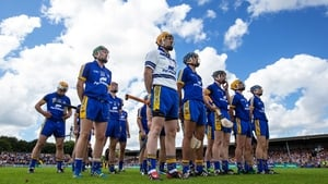 The Clare team stand for the national anthem ahead of their clash with Wexford