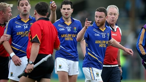 At the end of the end of the game, Wicklow's Leighton Glynn made his views clear to the the linesman