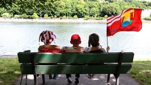 Young Cork supporters by the banks of the Lee before the game against Kerry