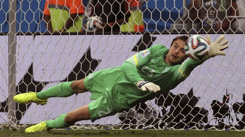 Tim Krul of the Netherlands saves his second penalty in a shootout with Costa Rica to help send his team through in the World Cup
