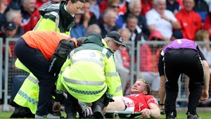 Ruairi Deane, on as a substittue, was forced to leave the pitch on a stretcher