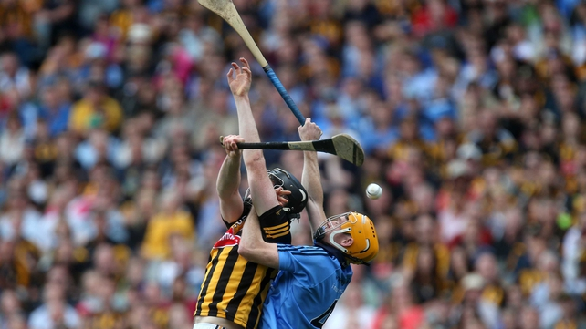 Dublin's Walter Walsh and Paul Schutte of Kilkenny battle for the ball