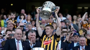 Lester Ryan lifts the Bob O'Keeffe Cup after Kilkenny's win over Dublin the 2014 Leinster final