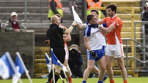 Armagh's Aaron Findon and Monaghan's Dermot Malone tussle in Clones