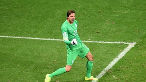 Tim Krul of the Netherlands celebrates after saving a penalty against Costa Rica