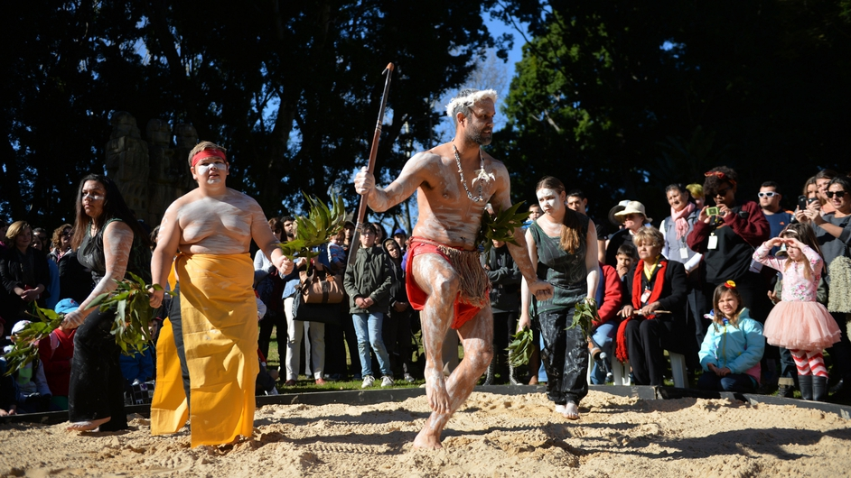 Dancers from the Dancestry Aboriginal and Torres Strait Islander dance troupe perform at the opening of NAIDOC week in Sydney