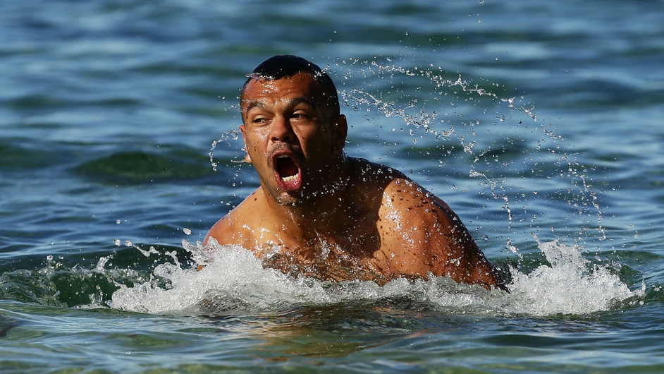 Kurtley Beale swims during a Waratahs Super Rugby recovery session at Clovelly Beach in Sydney, Australia