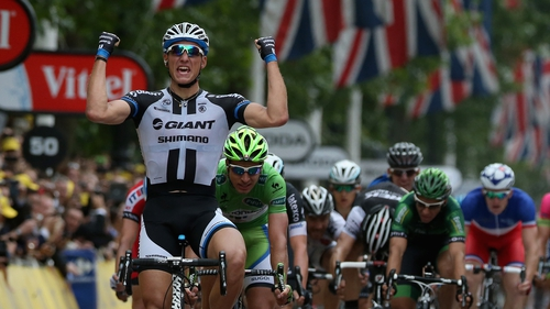 Marcel Kittel of Germany and Team Giant-Shimano celebrates as he wins in London