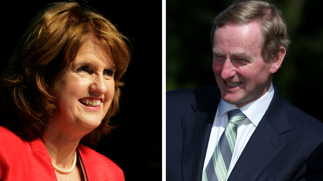 Joan Burton and Enda Kenny held one-to-one discussions for several hours yesterday