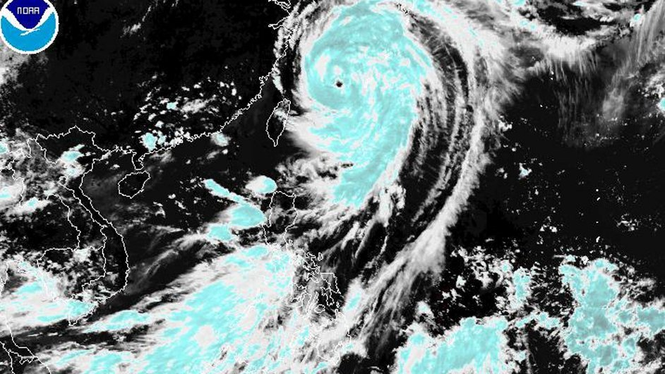 A handout MTSAT satellite image made available by the National Oceanic and Atmospheric Administration showing typhoon Neoguri