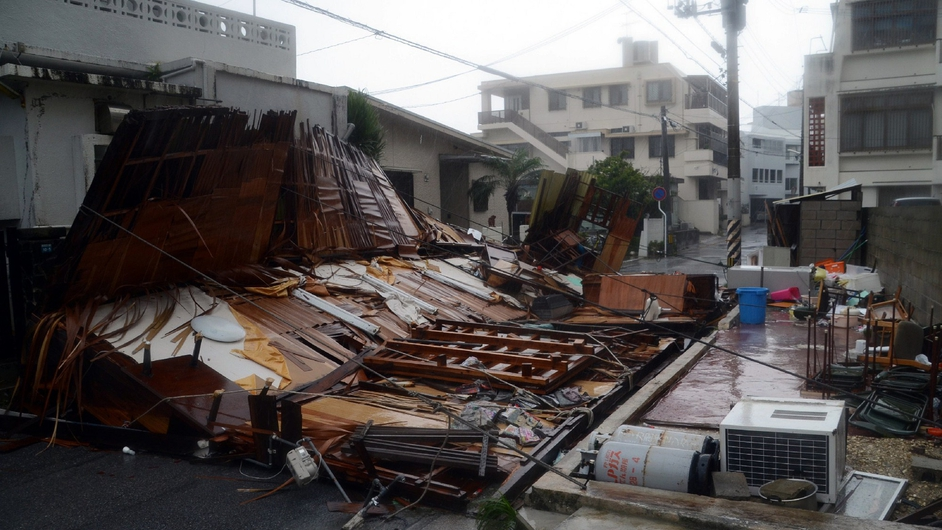 A wooden house collapsed during strong winds in Naha