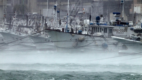 Vessels are moored at a port to take shelter from Typhoon Neoguri in Itoman on the island of Okinawa