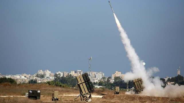 An Israeli defence system missile is fired to intercept a rocket fired from Gaza over the city of Ashdod, southern Israel