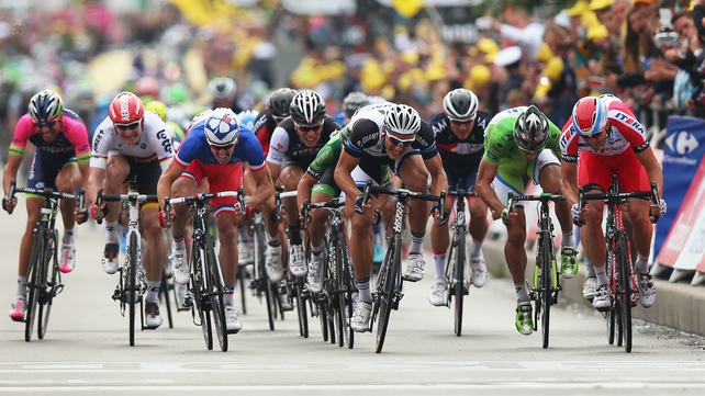 Marcel Kittel (fourth from right) won his third stage of this year's Tour de France