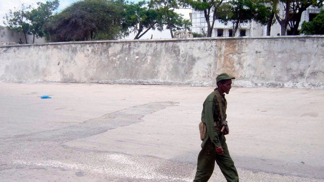File image of a soldier patrolling outside the presidential palace
