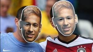 While others wore masks of the injured Brazil star Neymar