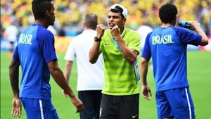 Brazil defender and captain Thiago Silva - who was forced to sit the match from one too many bookings - tried to motivate his team-mates just before kick-off