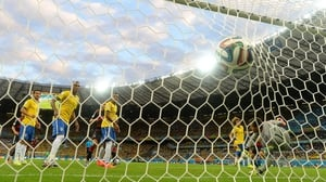 Brazil keeper Julio Cesar couldn't grab the ball, which put Germany up 1-0 at just 11'