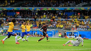 And, to finish out the scoring in the first half, Germany midfielder Sami Khedira embarrassed the Brazil defence with an uncontested shot at 29'