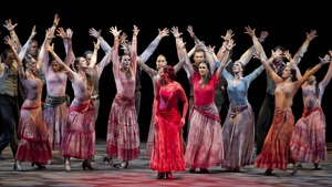 The Antonio Gades dance company performs on stage during the Granada Dance and Music International Festival at Generalife Theatre in Spain