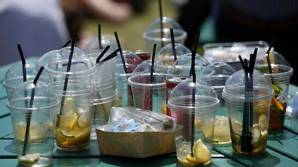 Empty Pimms glasses on a table during day eleven of the Wimbledon Championships
